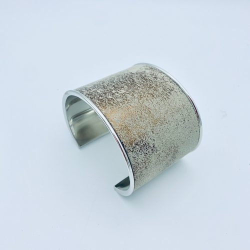 Silver and metallic leather cuff