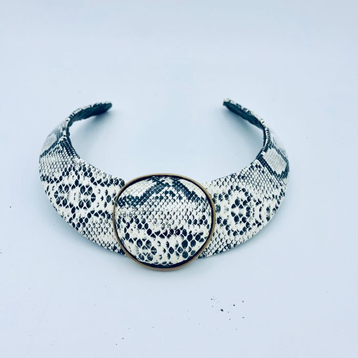 Snakeskin Leather Choker